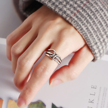 Silvology 925 Sterling Silver New Multi-layer Line twine Rings Vintage Industrial Wind Female Open Fine Jewelry