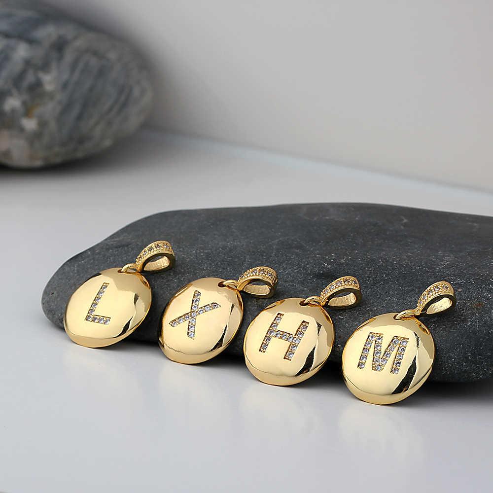คุณภาพสูงผู้หญิงเริ่มต้นสร้อยคอทอง 26 ตัวอักษร Charm สร้อยคอจี้ทองแดง CZ เครื่องประดับส่วนบุคคลสร้อยคอ
