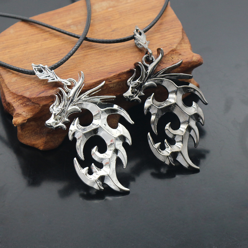 Vintage Punk Chinese Dragon Necklace Fashion Men 39 s Black Silver Flame Dragon Pendant Necklace Cool Male Animal Jewelry Gift in Pendant Necklaces from Jewelry amp Accessories