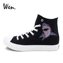 Wen Shark Original Design Canvas Shoes Classic Flat Color Black White High Top Sneakers Sports Skateboarding Shoes