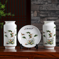 Three sets of ceramic vase ornaments Jingdezhen home furnishing home decorationflower arranging crafts