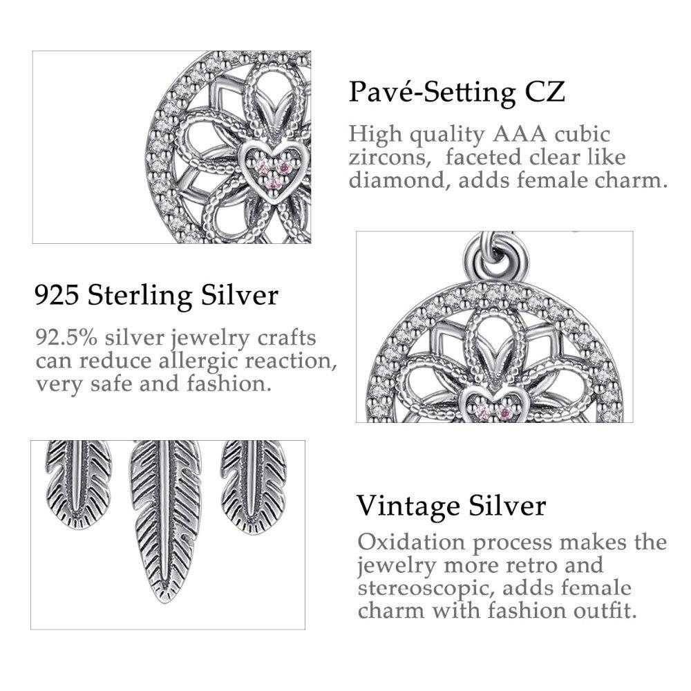 Genuine 100/% 925 Sterling Silver Dream Catcher Holder Drop Earrings For Women Sterling Silver Jewelry Gift