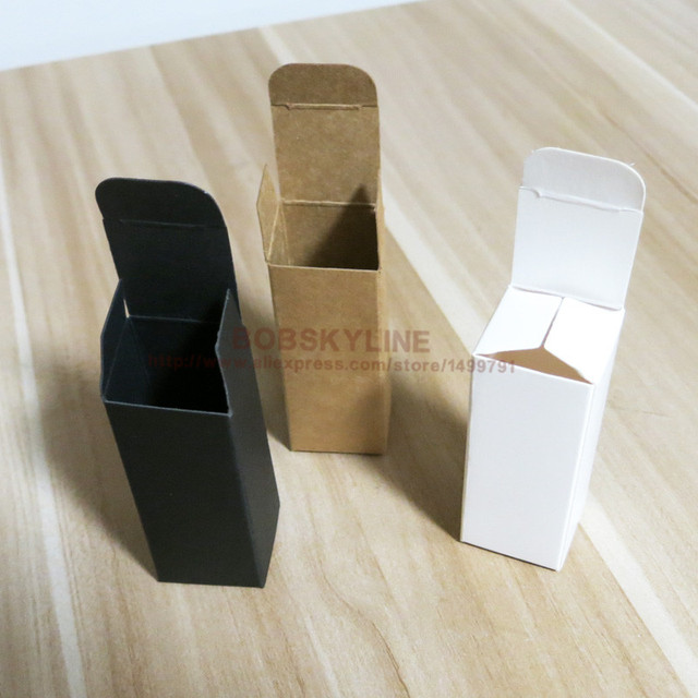 3.1x3.1x8.3cm Black White Kraft Paper Box for sample cosmetics perfume esential oil sprays gift box 100pcs