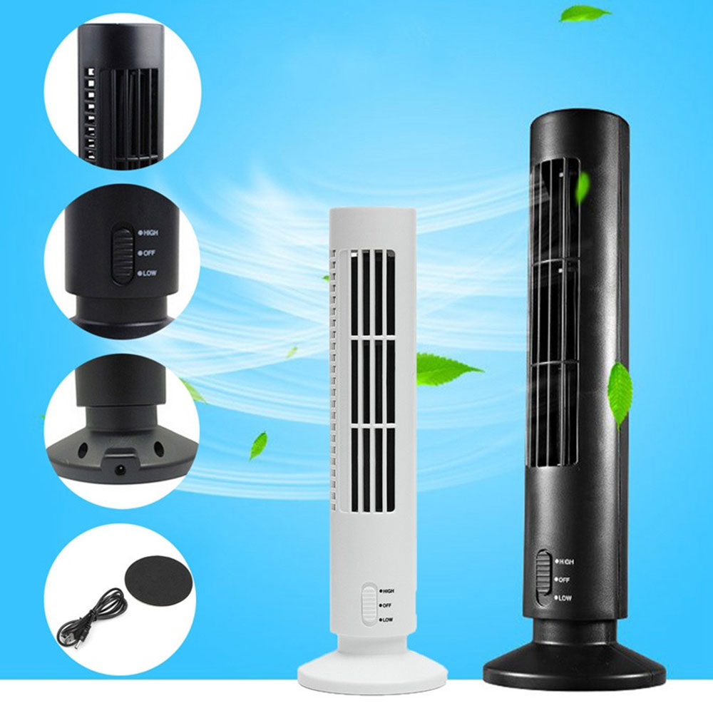 купить Portable Mini USB Leafless Tower Fan Air Conditioner 2 Speed Desk Cooling Fan Purifier for Home Office по цене 841.81 рублей