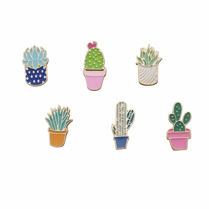 1 PC Kawaii Cactus Brooch Female Cartoon Badge Metal Icons on The Backpack  Badges for Clothing Icon