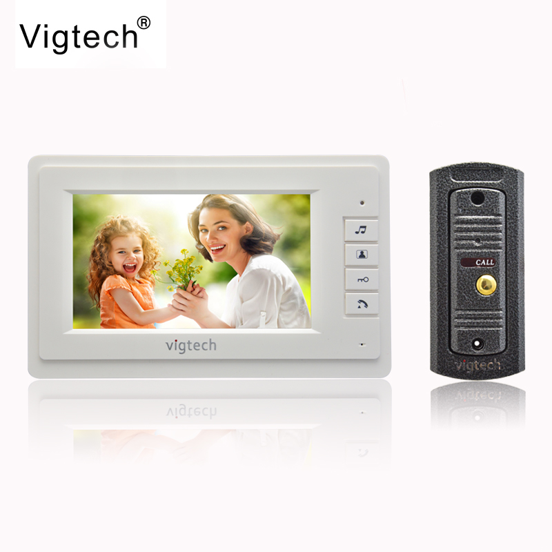Vigtech7`` video intercom video doorphone speakerphone intercom system white monitor outdoor with waterproof & IR camera
