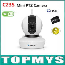 Vstarcam Mini PTZ IP camera C23S wifi security CCTV camera built-in TF card slot 1080P HD P2P IP cam. two way radio Dome camera
