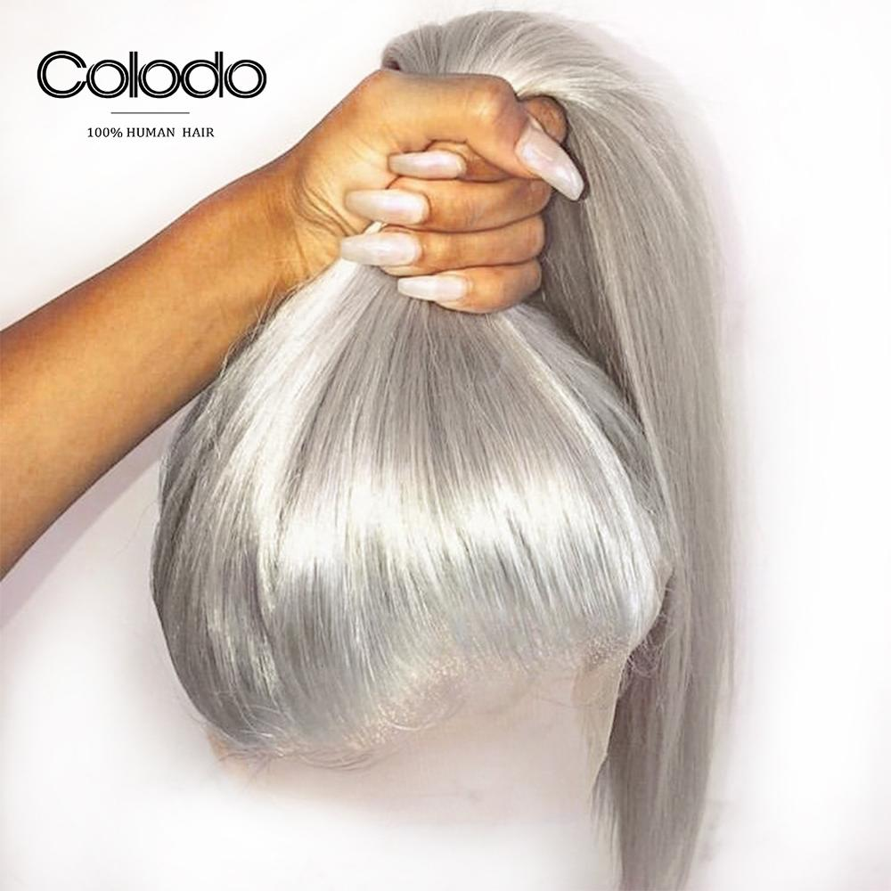 COLODO Grey Full Lace Human Hair Wigs Pre Plucked with Baby Hair Brazilian Remy Silver Straight