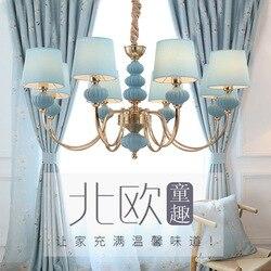Żyrandol pokojowy dla dzieci dziewczyna księżniczka amerykańska kutego żelaza lampka do sypialni Nordic boy niebieski osobowość kreatywne oprawy|Wiszące lampki|   -