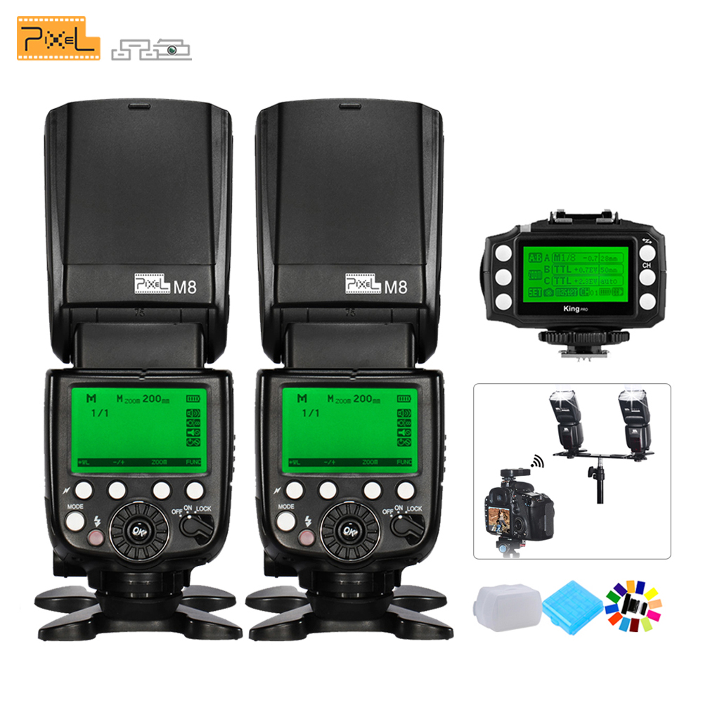 2pcs Pixel M8 Universal Flash Speedlight Flashlight + KING PRO Wireless TTL Flash Trigger Transmitter For Canon DSLR Cameras