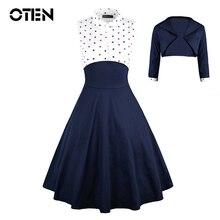 OTEN 2019 Autumn Elegant Women two pieces dress set 2 pcs Polka dot Printed party pin up vestidos retro vintage rockabilly 3XL retro color block polka dot pin up dress