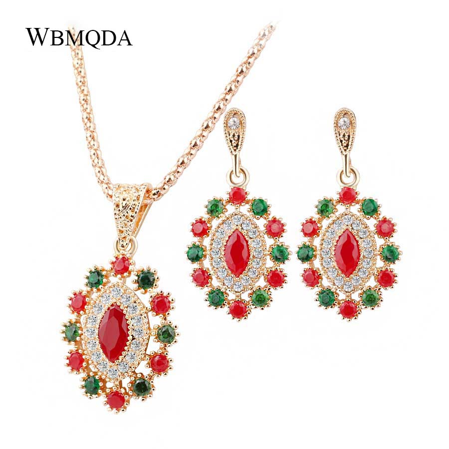 2 Pcs/lot Hot 2018 Indian Jewelry Sets Colorful Crystal Necklace Earrings For Women Vintage Fashion Wedding Party Accessories