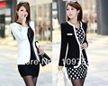 Free Shipping New fashion Women Long Sleeve Slim Brand Jacket Lady Autumn V-neck Black White Suit OL Jackets Plus Size
