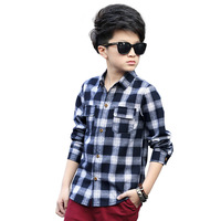 Plaid Shirts for Boys Spring Tops Autumn Children Clothing Teenager Outerwear Kids Blouse Infant Shirt Full Sleeve 5-15Y Clothes