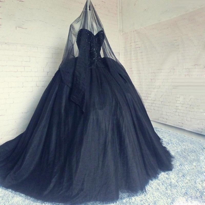 2017 New Arriva Ball Gown Sweetheart Long Wedding Dress Shher Black