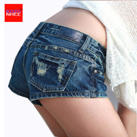 2017 paaldansen Sexy vrouwen zomer kristal Shorts Jeans denim Micro Mini Jean Ultra Laagbouw Taille Plus Size Ripped Shorts