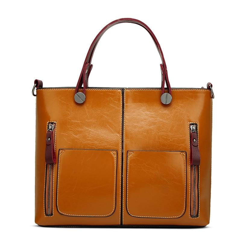 Prettyzys 2017 Luxry Brand Women Wax Leather Handbags Lady Large Tote Bag Female Shoulder Bags Bolsas Femininas Brown Black Red женские блузки и рубашки hi holiday roupas femininas blusa blusas femininas