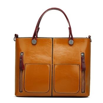 Prettyzys 2017 Luxry Brand Women Wax Leather Handbags Lady Large Tote Bag Female Shoulder Bags Bolsas Femininas Brown Black Red
