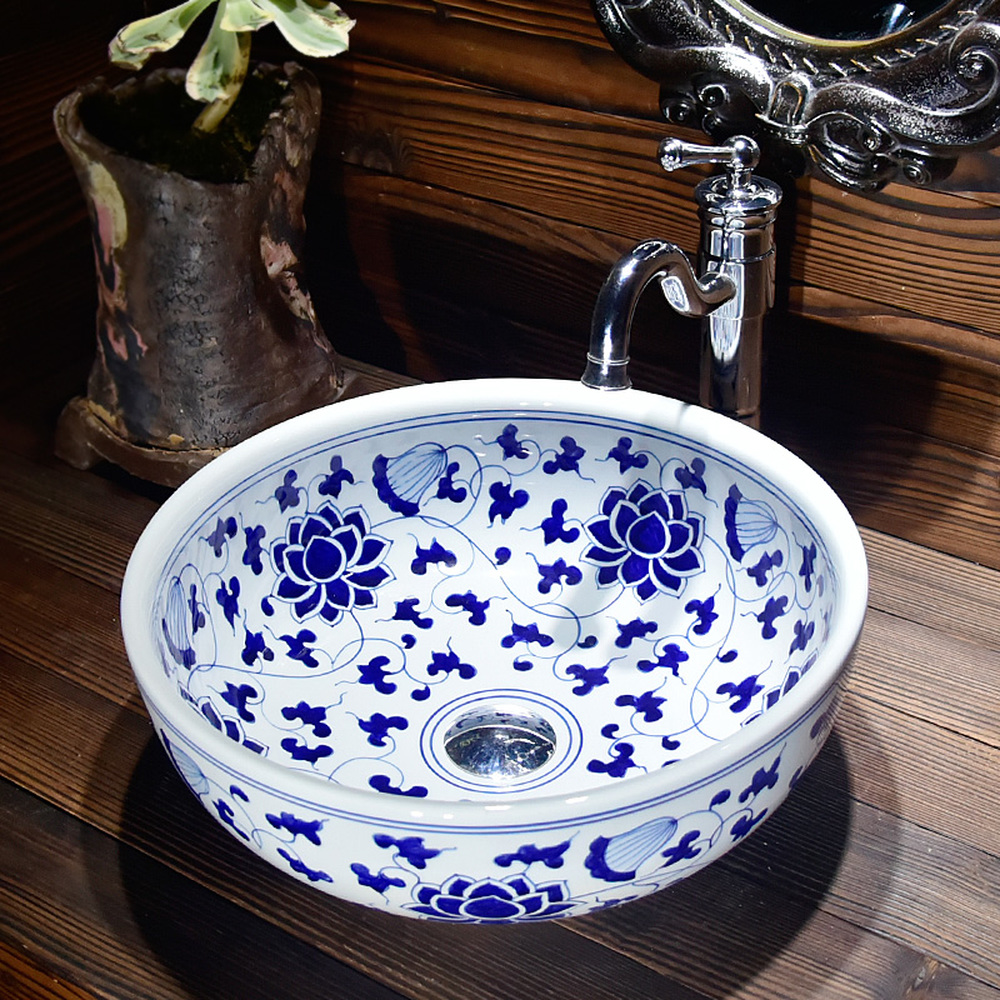 Керамический тазик столешницы бассейна семьи ванная комната круговой искусство бассейна синий и белый ветки LO6181012