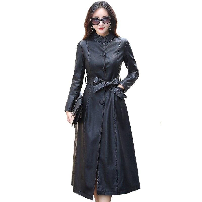 2019 Faux   Leather   Coat Female Windbreaker Fashion X-Long Single Breasted Autumn Female   Leather   Jacket Winter Plus Size 5XL