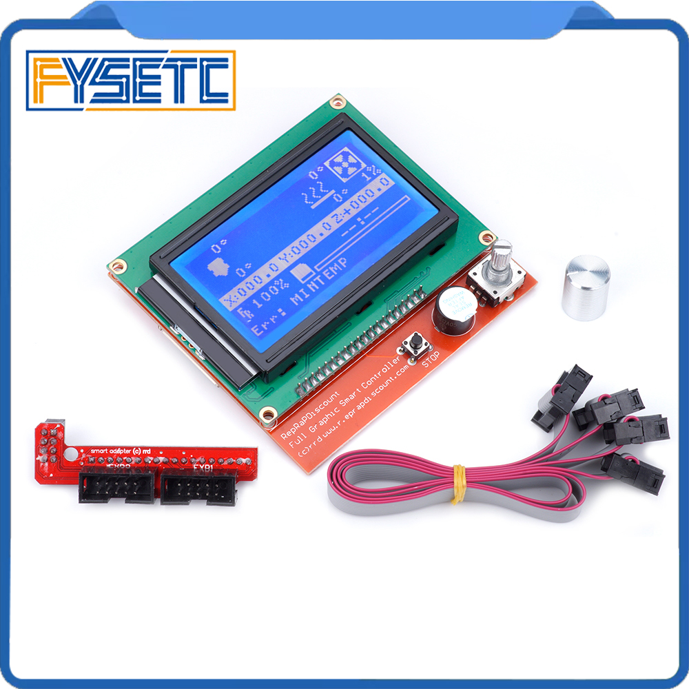 12864 LCD Ramps Smart Parts RAMPS 1.4 Controller Control Panel LCD 12864 Display Monitor Blue Screen Module For Anet A6 цена 2017