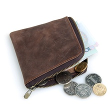 Top Grade Crazy Horse Leather Short Wallet Vintage Casual Fashion Coin Pocket 8113R