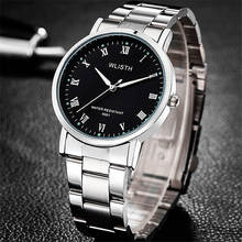 WLISTH Men Wrist Watch Business Classic Rome Black Dial Clock Quartz Stainless Steel Watches Belt Waterproof Quality Authentic цена