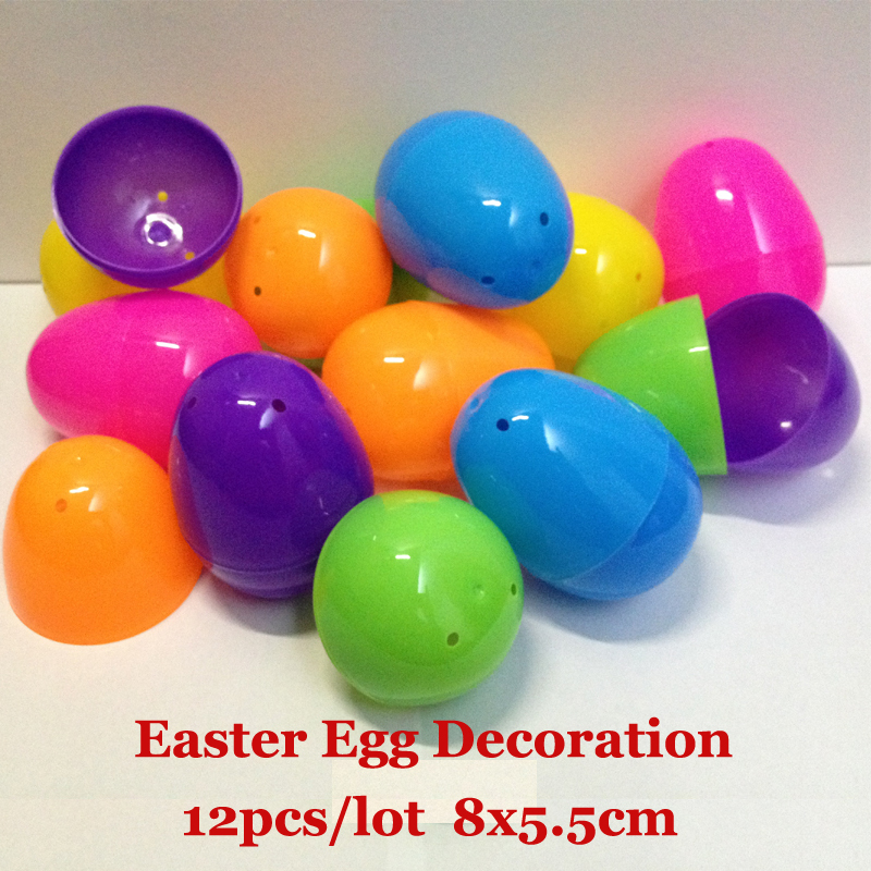 8x5.5cm 12pcs/lot Solid Colorful Opening Plastic Toys Easter Eggs Eggshell Candy Box For Children Gift In Easter Decoration