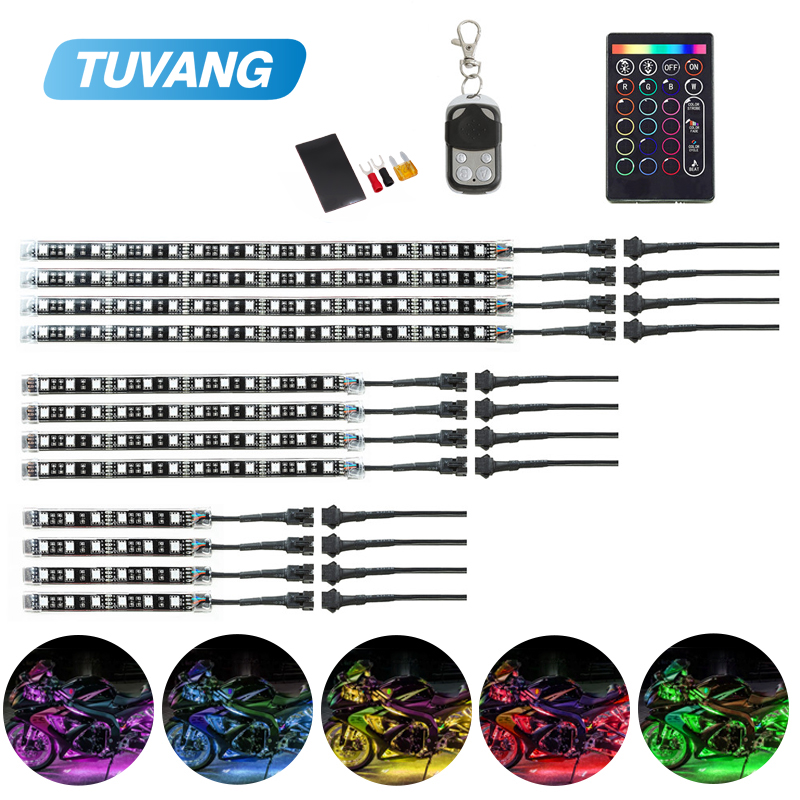 12Pcs Motorcycle Underbody RGB Led Light Kit Strips Car Multi Color Accent Glow Neon Flashing Lights