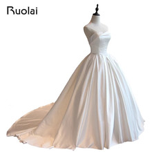 Real Photo Simple Design Satin Strapless Ball Gown Wedding Dress Bridal Gown Church Wedding Vestido de Novia 2016 Wedding ASAW25