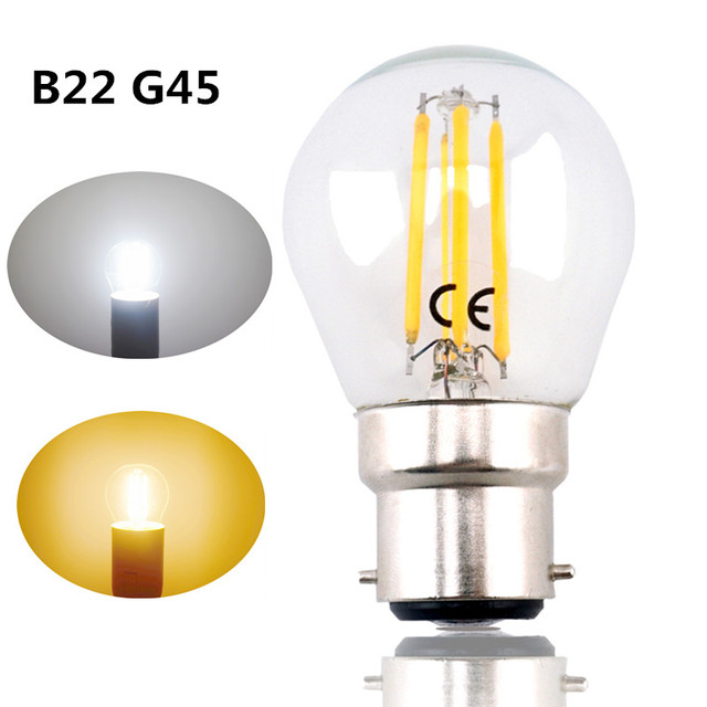 B22 G45 LED Filament Bayonet Light Bulb 4W 220V LED G45 B22 Glass Edison  Retro Bulb - B22 G45 LED Filament Bayonet Light Bulb 4W 220V LED G45 B22 Glass