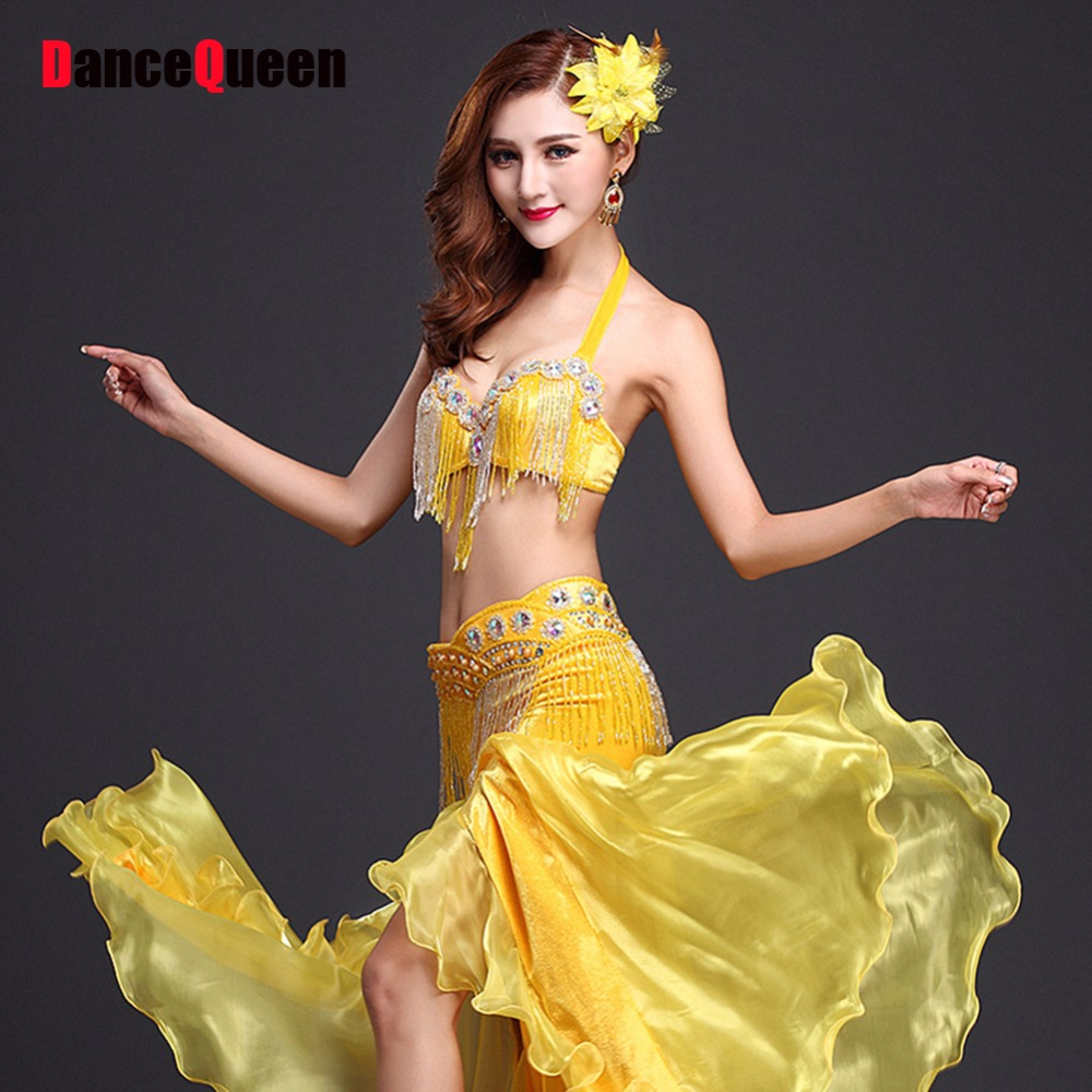 Costume For Belly Dance Bra&Waist Chain&Skirt Egyptian Costume Women Sexy Belly Dance Costume Clothing For Belly Dancing JDQ1029 filigree polished bowknot flat belly chain