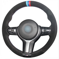 Black Suede Blue Dark Blue Red Marker Steering Wheel Cover for BMW F33 428i 2015 F30 320d 328i 330i 2016 M3 M4 2014 2016