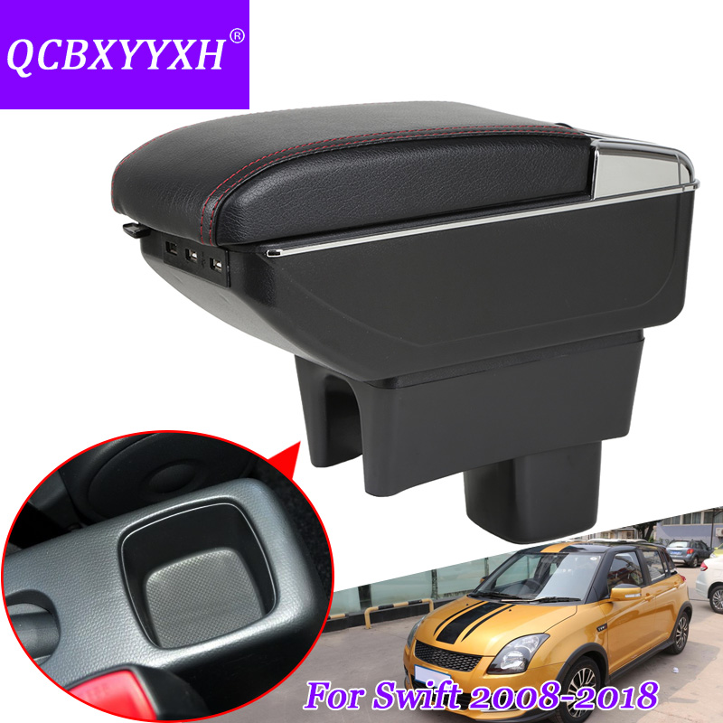 QCBXYYXH Car Styling PU Leather Car Armest For Suzuki Swift 2008-2018 Storage Box With Cup Holder Cover Internal Decoration Auto qcbxyyxh abs car styling for nissan terra navara np300 2018 2019 car navigation frame sequins internal decoration cover