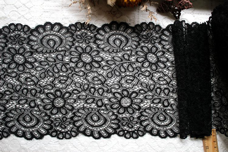 New Arrival 3Yards 22cm Black White Lace Fabric DIY Crafts Sewing Suppies Decoration Accessories For Garments Elastic Lace Trim