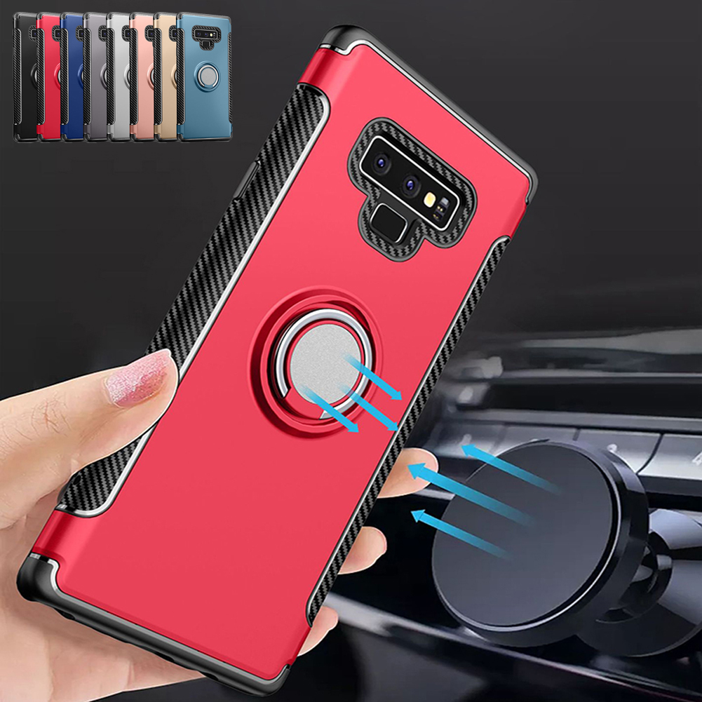 new concept 989f4 3b2b7 MAYROUND Note 9 Case, Hybrid Luxury Slim Rugged Rubber Carbon Fiber  Magnetic Ring Armor Case Cover For Samsung Galaxy Note 9
