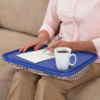 Blue Lap Desk For Laptop Chair Student Studying Homework Writing Portable Dinner Tray With Baverage Cup