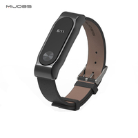 For Xiaomi MiBand 2 PU Leather Strap Metal Frame Xiaomi Mi Band 2 Smart Bracelet Wristband