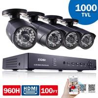 ZOSI 8CH DVR 960H HDMI CCTV System Video Recorder 4PCS 1000TVL Home Security Waterproof Night Vision
