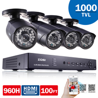 ZOSI 8CH DVR 960H HDMI CCTV System Video Recorder 4PCS 1000TVL Home Security Waterproof Night Vision