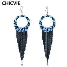 Женские серьги кисточки chicvie черные винтажные богемные длинные