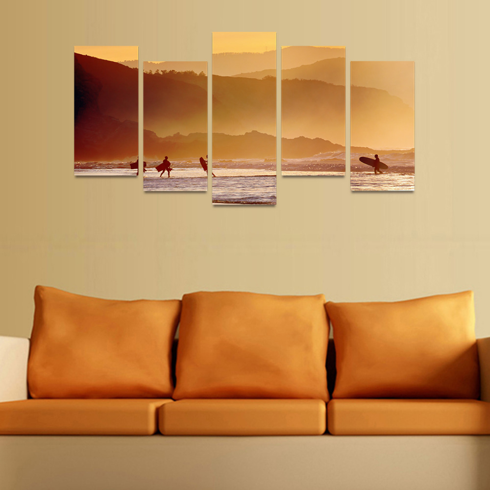5 Panels Canvas Print People On Beach And Mountains Painting for Living Room Wall Art Picture Home Decoration FIV0100-in Painting & Calligraphy from ...