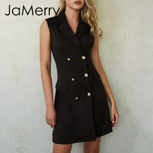 JaMerry Vintage sexy double breasted blazer women dress Summer sleeveless plus size black dresses Office lady work solid vestido(China)
