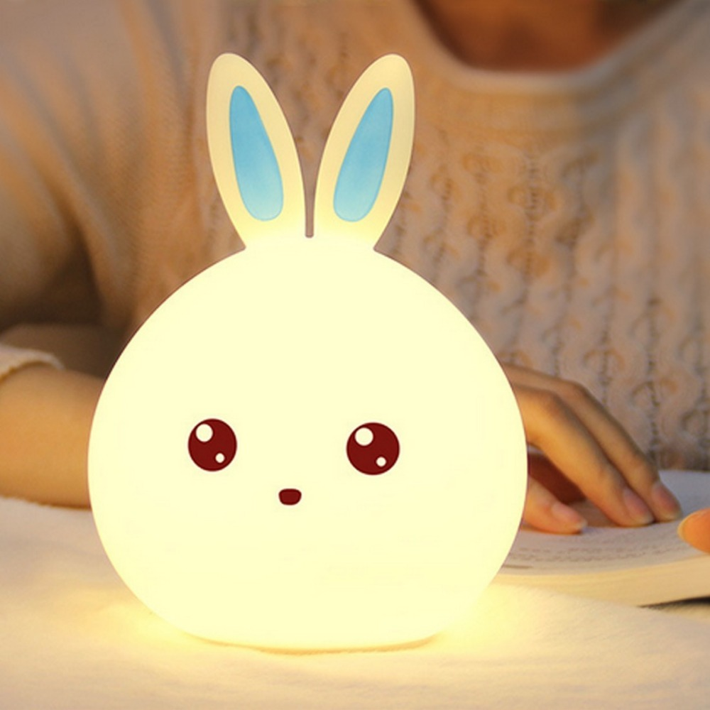 2018 New Cute Rabbit LED Night Light For Children Baby Kids 7 Colors Silicone Touch Sensor Bedside Night Lamp Christmas Gift beiaidi 7 color usb rechargeable rabbit led night light dimmable animal cartoon light with remote baby kids christmas gift lamp