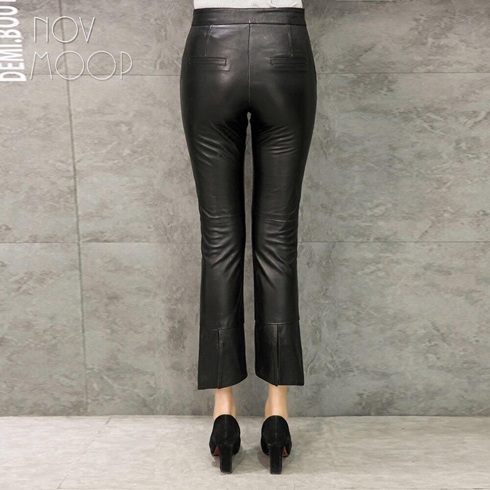 Los Ajustados Flare Mujeres Tobillos Cuero Black Plus Pic Pantalon Por Genuino Lt2372 Pantalones Tamaño Encima Negro De Cordero Per Las Real Mujer Piel fw76q68