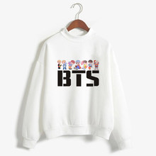 Women Hoodies Sweatshirt Long Shirt Kpop BTS Bangtan Boys Korean Style Fashion BT21 Harajuku Printed White Kawaii Clothes(China)