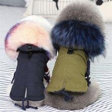 Şanlı KEK kış köpek giysileri lüks Faux kürk yaka köpek ceket küçük köpek sıcak rüzgar geçirmez Pet Parka polar astarlı köpek ceket