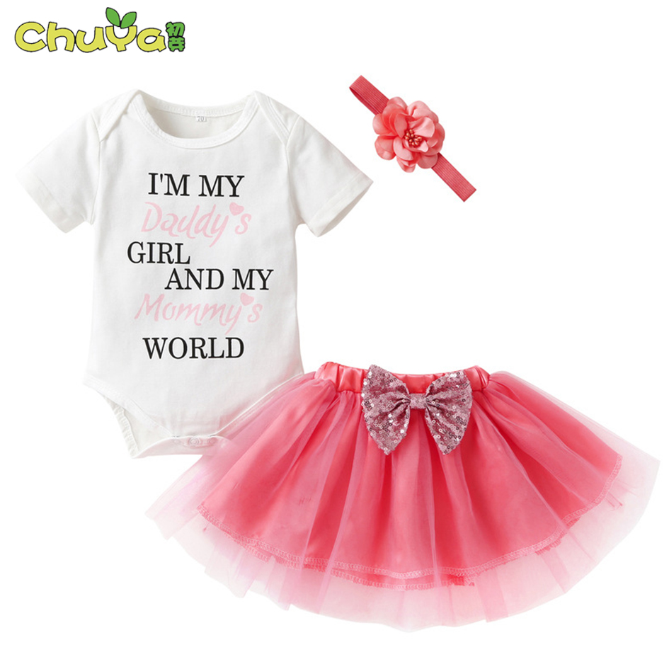 Baby fashion letter rompers 3pcs suits baby girl clothes newborn girl princess party Puff dresses baby clothing sets for 0-24M