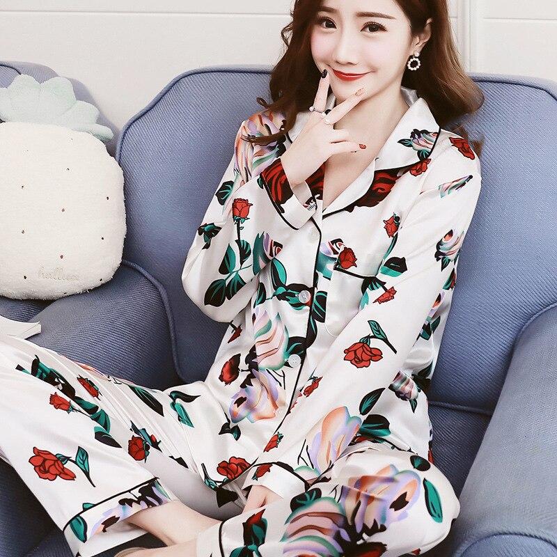 Женская пижама искусственный шелк, пижама, Атласный пижамный комплект с цветочным принтом, с длинными рукавами, комплекты из 2 предметов, осенне зимние пижамы, Femme, домашняя одежда Комплекты пижам      АлиЭкспресс