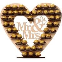 Mr & Mrs HeartFerrero Rocher Coração Display Stand Peça Central Do Casamento Da Árvore de Mesa De Madeira Do Vintage Decoração Do Partido de Noiva S